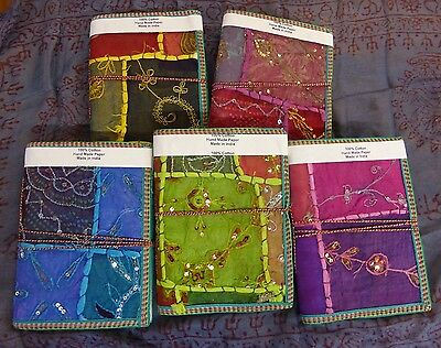 x1 Large Vintage Recycled Indian Sari Fabric Note Books Hand Made Paper 40 pages