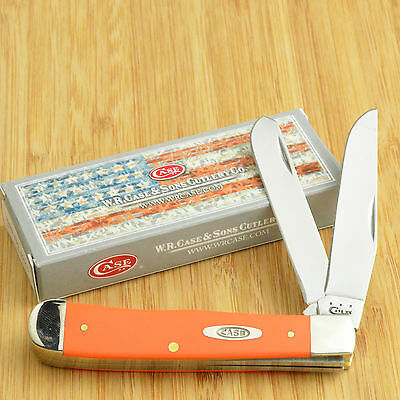 Case XX Orange Synthetic Handle Trapper Pocket Knife 80500 4254 SS