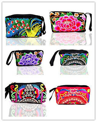 Wholesale10pcs Chinese Handmade Ethnic Vintage Embroider Pouch Wallet Purse