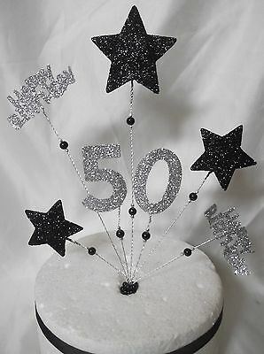Handmade Black and Silver Stars cake topper Any Age