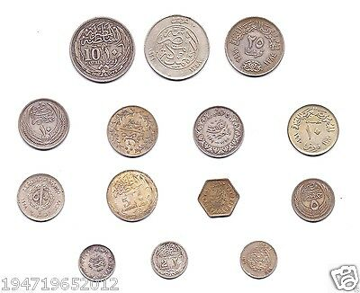 1917 - 1964  Egypt 14x Silver Rare Collection Of Coins King Fuad & Farouk & More