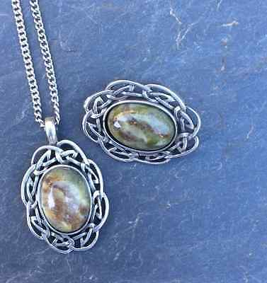 Connemara marble brooch and pendant matching set. Irish jewellery. Mothers Day