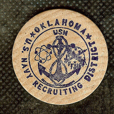 Vintage Wooden Nickel Us Navy Recruiting District Oklahoma Fun Zest Adventure