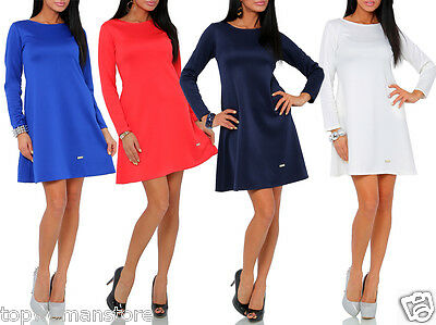 Top Women's Maternity Coctail Flared Dress Long SleeveTunic Crew Neck Size 10-16