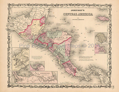 Central America Antique Map Johnson 1861 Original