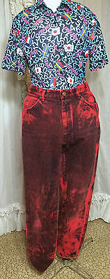 80s Bright Red and Black Acid Wash High Waisted Skinny Jeans