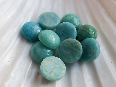 2 x Natural Blue Russian Amazonite Domed Cabochons 10mm Semiprecious Gemstones