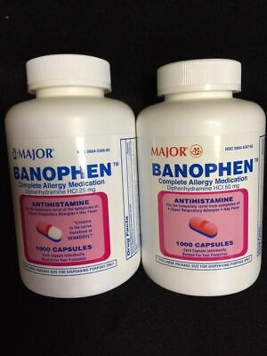 Banophen Diphenhydramine HCL 25 or 50 mg Generic Benadryl 100 or 1000 caps