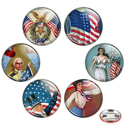 """Fourth of July 1.25"""" Pinback Button BADGE SET Pins Independence Day Gift 32 mm"""