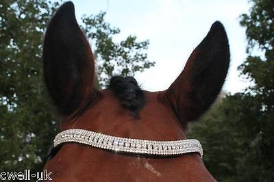 New Designer Look U white clear crystal  Browband Great Gift *offer* BLACK