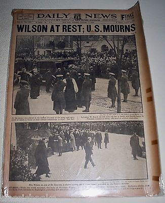 Daily News  Feb 7th  1924 President Wilson Lay to Rest
