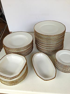 Hutschenreuther China White and 14K Gold  Collectable Dinnerware 52 Pc. 1900s
