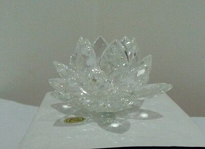 8cm Crystal Glass Faceted Clear Lotus Flower Wedding Gift Decoration