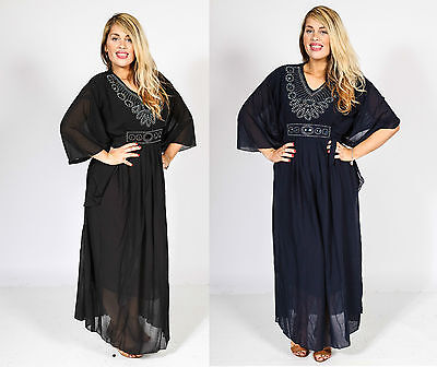 Ladies Abaya Kaftan Butterfly Women Dress Jilbab Islamic Wear Maxi Diamante 8-18