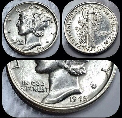 AU 1945-S Mercury Dime - San Francisco Mint - US 90% Silver Coin