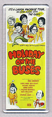 HOLIDAY ON THE BUSES LARGE movie poster 'wide' FRIDGE MAGNET - RETRO CLASSIC !