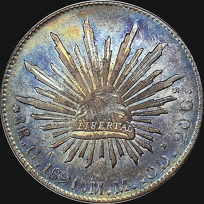 """Toned Glory! 1891 Ca Mm 8R 8 Reales Mexico Republic Ngc Au58 """"beautiful Lustre"""""""