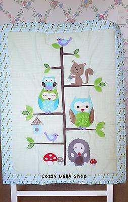 Baby Bedding Set 7Pc Cot Crib Set Nursery GREEN OWL Quilt Sheet Nappy Stacker