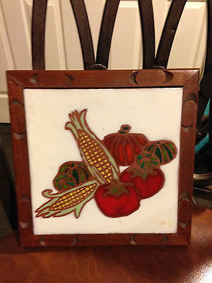 "Fiesta Tile Trivet 7"" x 7"" Harvest Food Corn Tomato Peppers Pumpkin"