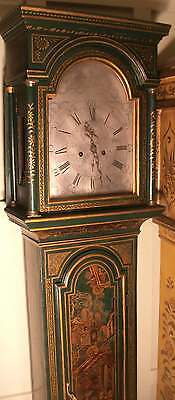 """ANTIQUE GREEN  LACQUERED """" DUNKELD""""  GRANDFATHER / LONGCASE CLOCK"""