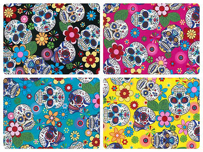"100% Cotton Poplin Dress Fabric Material - Floral Skull Print - 44"" (112cm) wide"