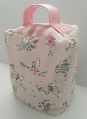 HANDCRAFTED DOORSTOP in CATH KIDSTON FABRIC 'Garden Fairies' + Gingham Pink NEW