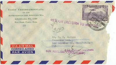 1952 Costa Rica Union Centroamericana Air Mail Return To Writer - solo 35 cts