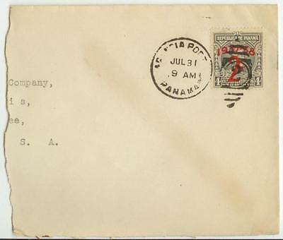 c1937 Panama Sc 303 overprint solo on cover piece to US