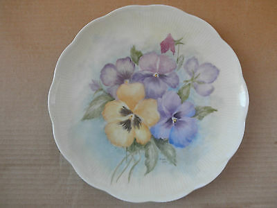 Pansies Flowers Hand Painted & Signed Plate & Made Vohenstrauss Bavaria Germany
