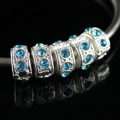 5X OCEAN BLUE CRYSTAL FINDINGS STOPPER LOCKS/CLIP EUROPEAN CHARMS BEADS
