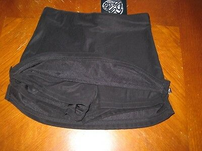 NWT FUNKY DIVA GIRLS BLACK ATHLETIC DANCE RIBBED SKORT with SLIT SIDES