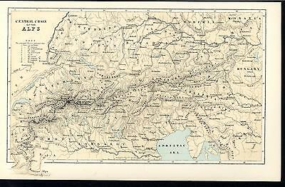 Central Chain Alps Lombardy Venice Switzerland 1885 vintage old uncommon map