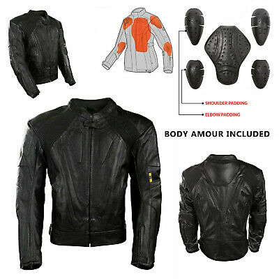 Mens Black CE Armoured Leather Motorbike Motorcycle Classic Jacket Biker Style