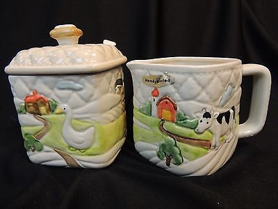OTAGIRI - 1982 QUILTED CREAMER AND SUGAR WITH LID HANDPAINTED FARM SCENE SET