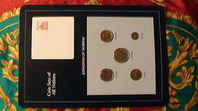 Coin Sets of All Nations Norway w/card Blue 1983 - 1984 UNC 5 & 1 Kroner 1983