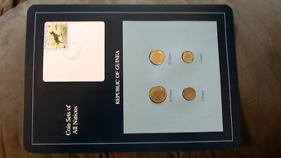 Coin Sets of All Nations Guinea UNC w/ card 1,5,10 Francs 1985 25 Francs 1987