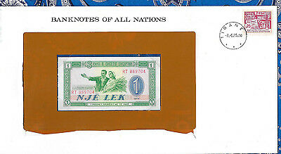 *Banknotes of all Nations Albania 1976 P40a One Lek UNC *