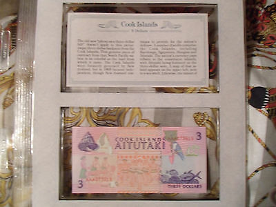 *Most Treasured Banknotes Cook Islands 1992 3 Dollars P 7 UNC Prefix AAA