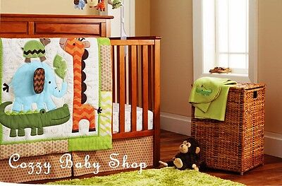 Baby Bedding Set Crib Cot 7pc Nursery Quilt Sheet Nappy Stacker Giraffe Elephant