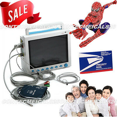 USA Sell, FDA Multiparameter ICU CCU Patient Monitor, ECG+NIBP+SPO2+RESP+TEMP+Pr