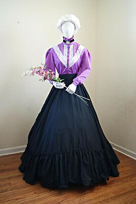 I-D-D  Re-enactment Beautiful Dickens VICTORIAN Skirt, Orchid Blouse & Sash Set