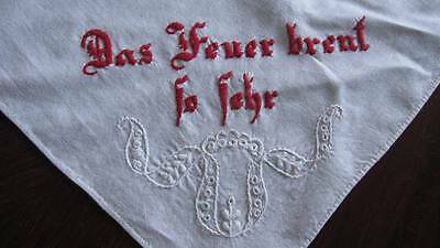 ANTIQUE GERMAN TURKEY REDWORK/WHITE HAND-EMBROIDERY-Love like Fire Msg for Anton