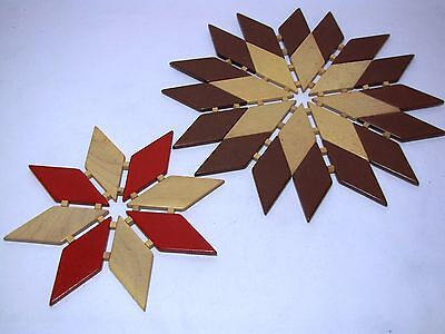 "2 Solid 10"" & 7"" wood star shaped flexible vintage trivets"