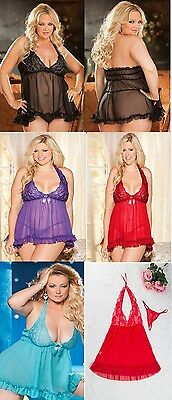 Stretch Lace Halter Baby Doll with G-String Plus Size 18 to 26