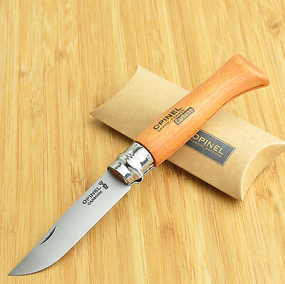 Opinel No 8 French Made Beechwood Handle Carbon Steel Folding Knife 13080