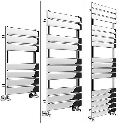 Vertical Designer Flat Panel Chrome Heated Towel Rail Bathroom Wall Radiator Rad