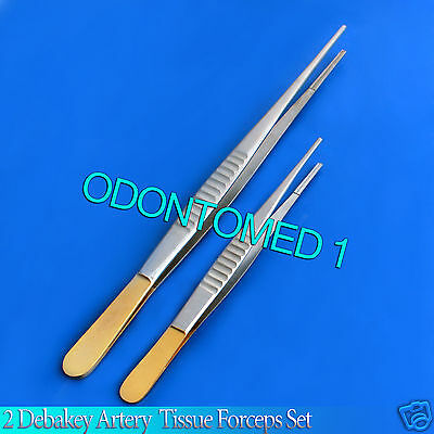 "2 Debakey Atraumatic Tissue Gold Handle Forceps 7""+9"" Surgical Instruments"