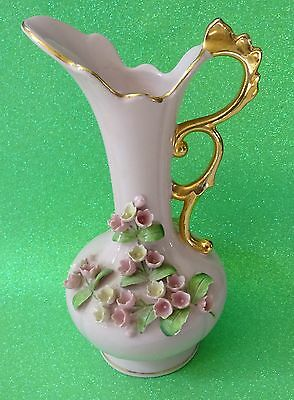 Vintage LEFTON Pitcher Vase Dish Porcelain Pink Gold Lily Valley Flowers 7.5x6.5