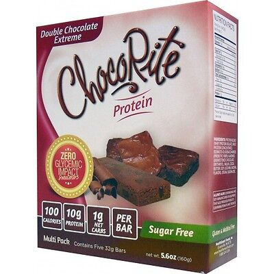 ChocoRite Protein Bars Double Chocolate - 5 Bars, Low Carb,High Fiber,Sugar Free
