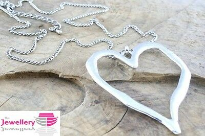 Large abstract heart pendant curb chain necklace silver or gold lagenlook gift